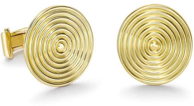 Theo Fennell Gold Whip Disc Cufflinks