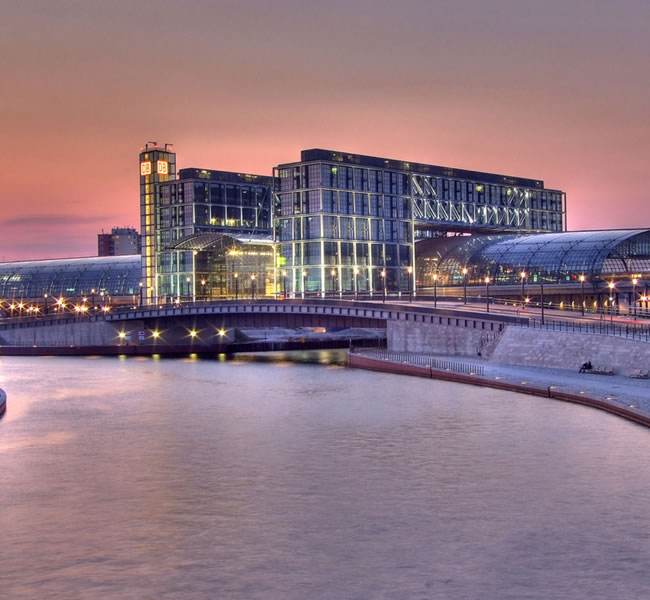 The Central Station in Berlin shortly after sunset. Image copyright: FreeImages.com/Phil dase