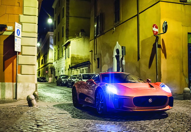 Seen driving the streets of Rome, the Jaguar C-X75 's beautiful aesthetics matches it's stunning surroundings.