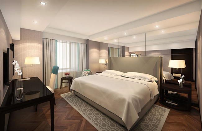 The Presidential Suite bedroom at the Sheraton Bucharest Hotel