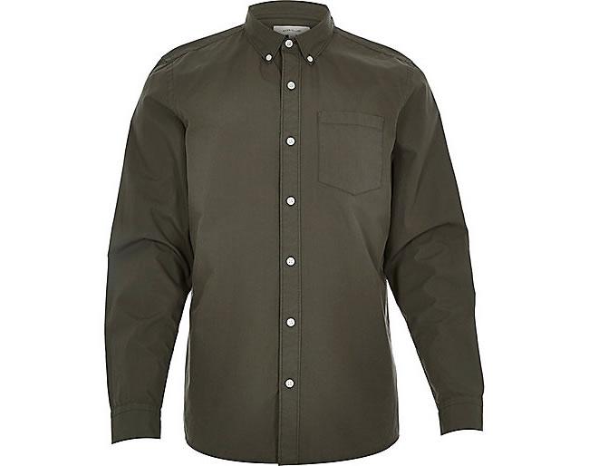 Khaki green poplin long sleeve shirt