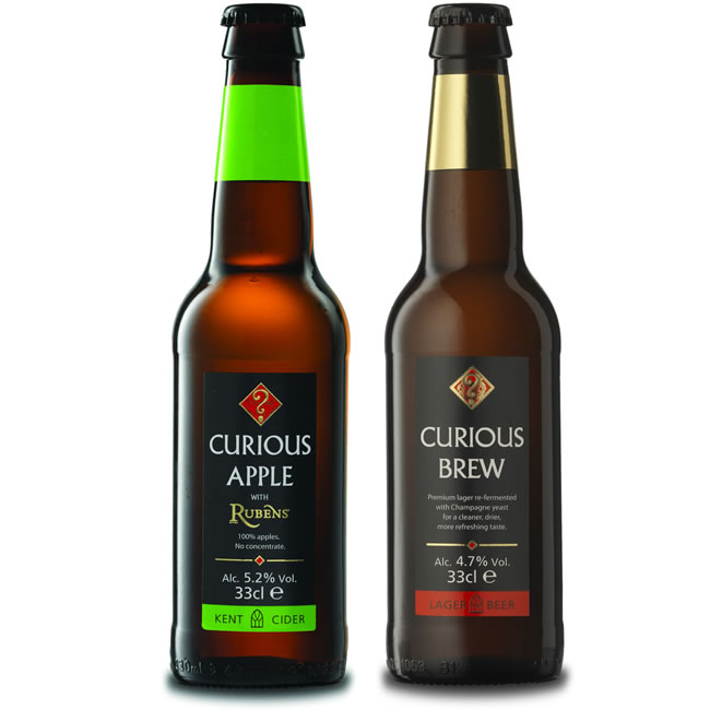 Curious Brew lager and Curious Apple cider