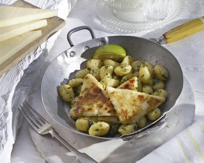 >Kefalotyri saganaki & potato gnocchi
