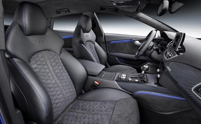 Alcantara theme used throughout the Audi RS 7 Sportback Performance model.