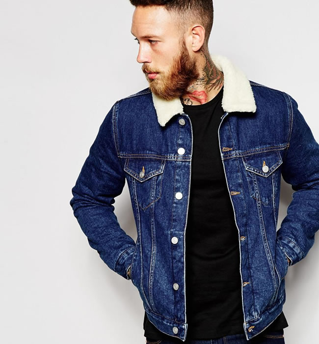 Denim Jacket With Borg Collar from ASOS.