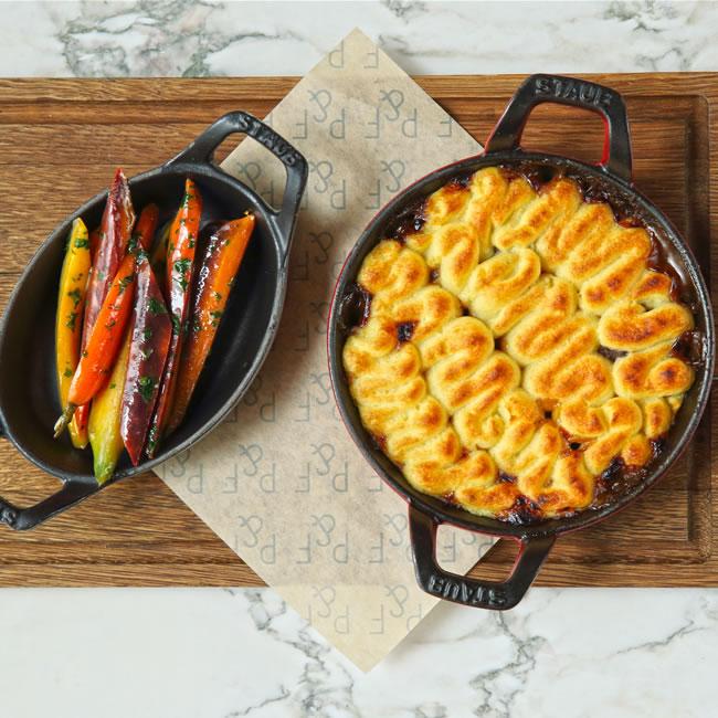 Venison Shephard's Pie with Glazed Carrots & Blackcurrant Jus