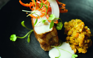 Monkfish Masala with Red Lentils, Pickled Carrots & Coconut Garnish