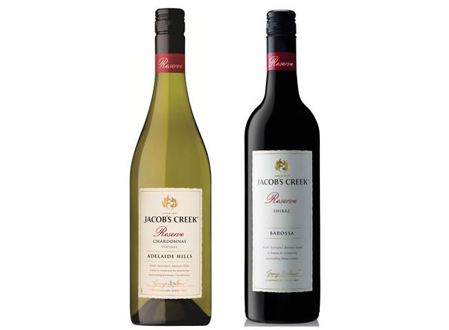 Jacob's Creek Reserve Shiraz and Reserve Chardonnay