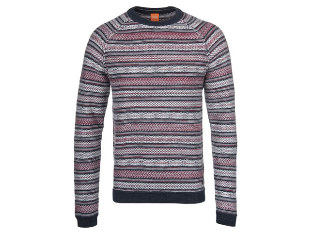 BOSS Orange Arentino Striped Crew Neck Sweater