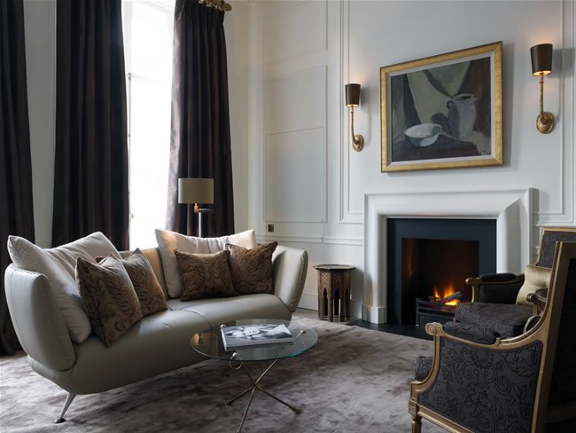 The stylish living room in the Knightsbridge Suite