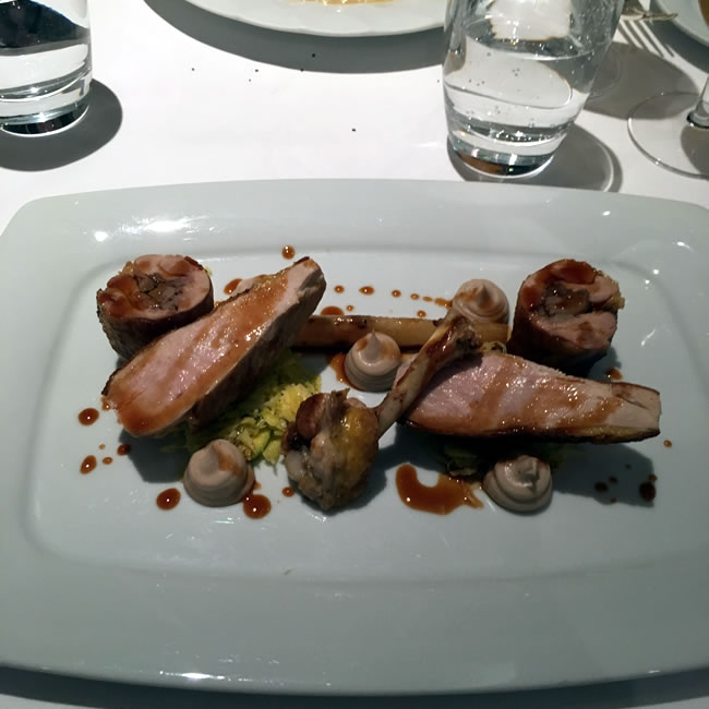 the Oven-roasted Guinea Fowl with Chestnut Purée and Salsify