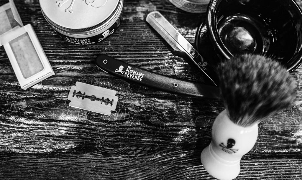 Straight razor, soap and brush in monochrome