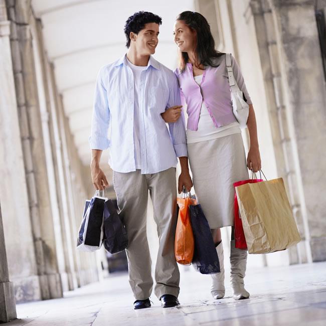 man and woman shopping trip