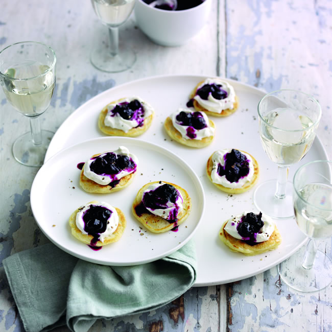 Blueberry Blinis with whipped goats cheese and Blueberry, black pepper chutney