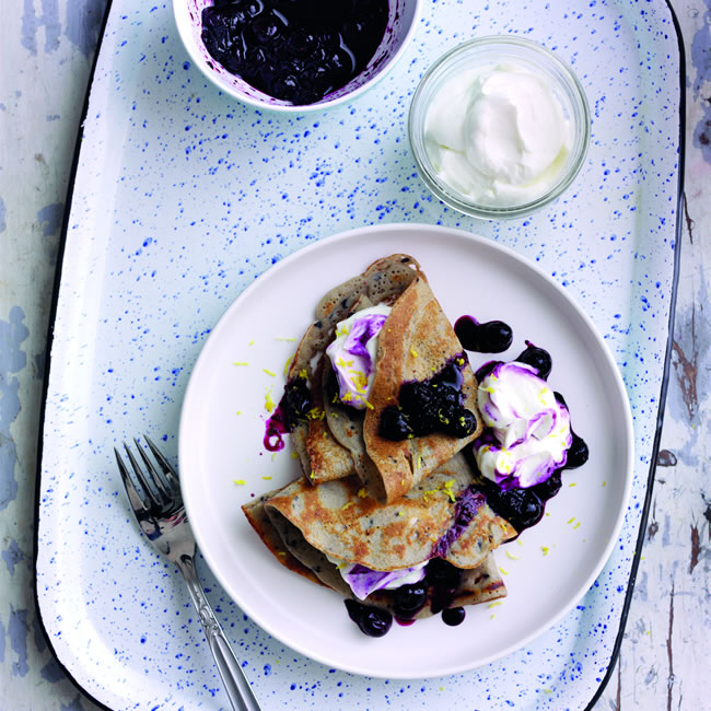 Blueberry Buckwheat Crepes with Greek yoghurt and Blueberry Lemon compote