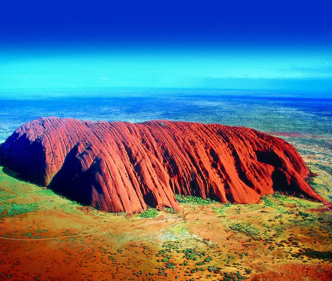 Aerial shot of Ayers Rock