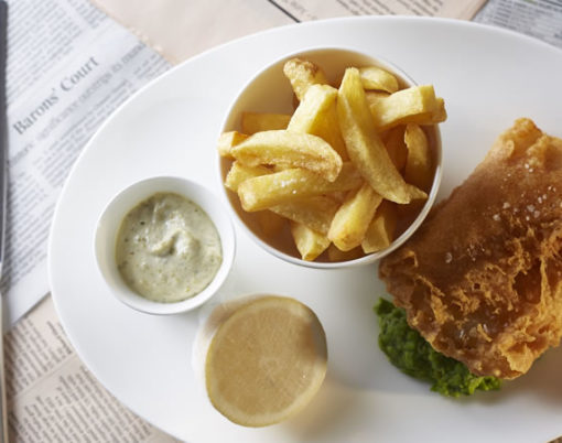 fish and chips at Indigo at One Aldwych Hotel