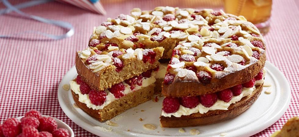 Potter's British raspberry, apricot & almond cake