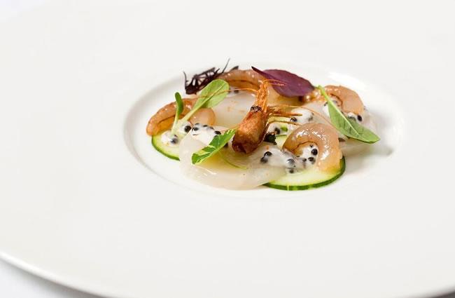 Orkney scallop,Mylor shrimp,cucumber,caviar Chantilly