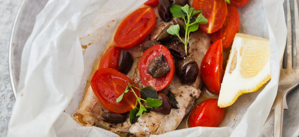 Bass Fillet with Datterini Tomatoes & Taggiasche Olives