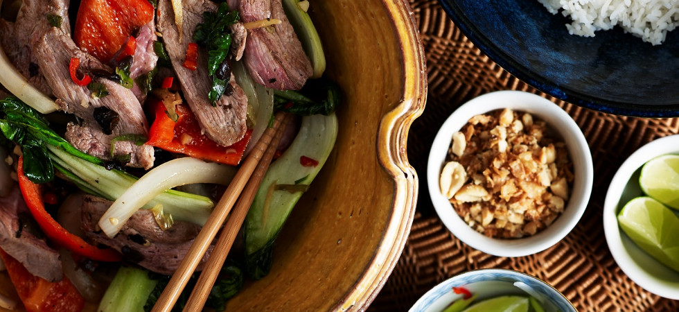 Duck Stir Fry with Peppers & Black Bean Sauce