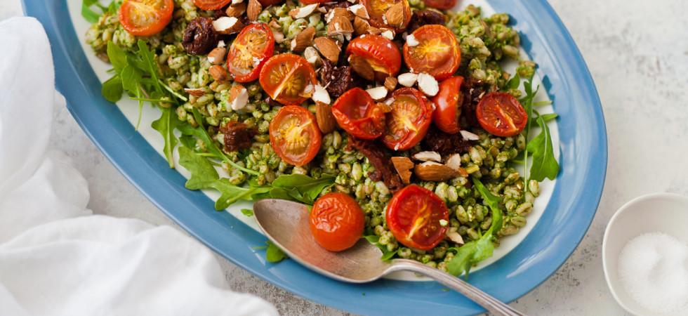 Farro with Slow-Roasted Italian Cherry Tomatoes & Rocket Pesto