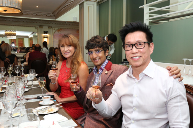 Jane Seymour, Karan Tilani, Andy Goh enjoying Martell Cognac Cordon Bleu at Angelina