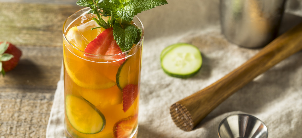 Sweet Refreshing Pimms Cup Cocktail with Fruit and Mint