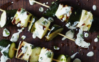 Courgette & halloumi kebabs with green tahini dressing