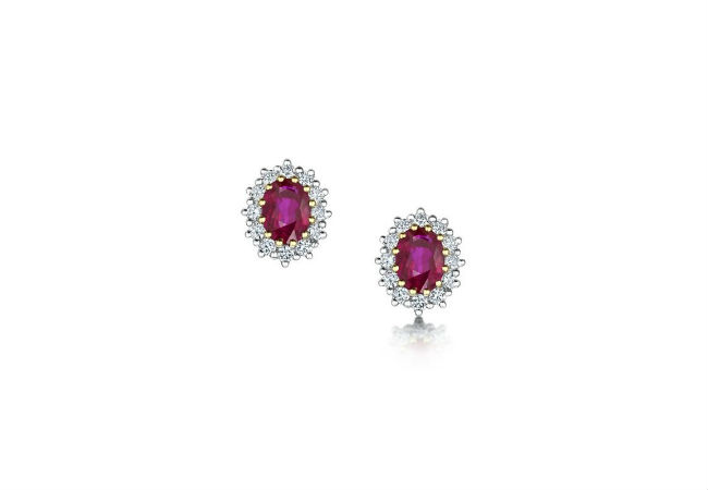 Ruby and Diamond Earrings in 18ct White Gold, Michael Spiers Jewellers