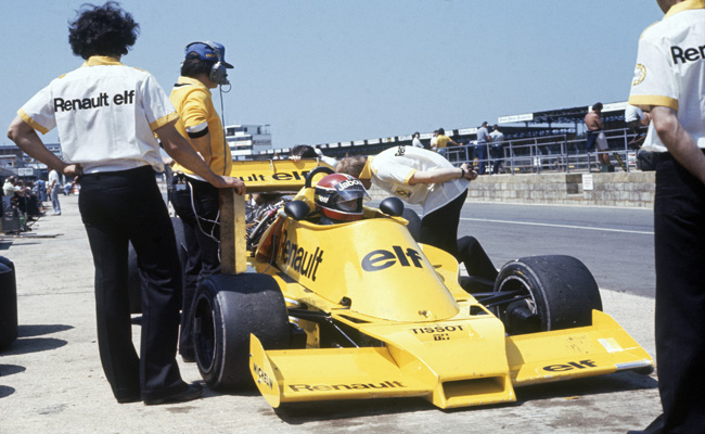1977 British Grand Prix. Silverstone, Great Britain. 16 July 1977. Jean-Pierre Jabouille, pictured in the pitlane. Photo Credit: Silverstone Classic/LAT Photographic www.latphoto.co.uk