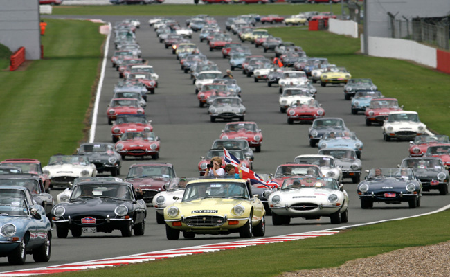 50 Years of the Jaguar E Type world record attempt at the Silverstone Classic.