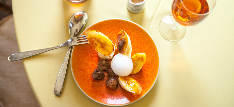 Vegan caramelised banana with candied walnuts & lemon sorbet