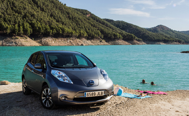 Nissan Leaf hits the European roads to showcase its' ability.