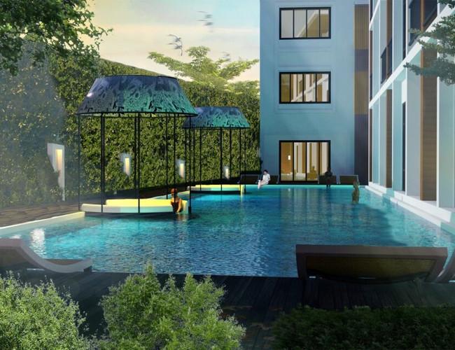 Beautiful poolside at Manathai Surin Phuket.