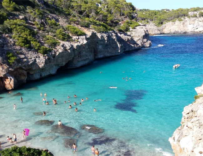 The clear blue sea of Calo-des-Moro in Majorca.