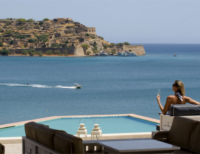 The picturesque views along the Grecian coastline at Domes of Elounda resort.