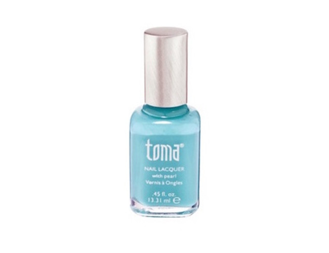 Try the summery baby blue nail lacquer by Toma.
