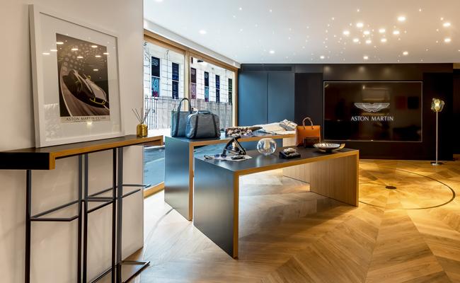 Gorgeously luxurious materials house the Aston Martin showcase.