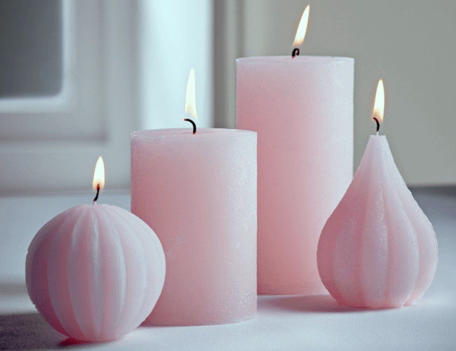 For a calming atmosphere try out these blush candles from Cox&Cox.