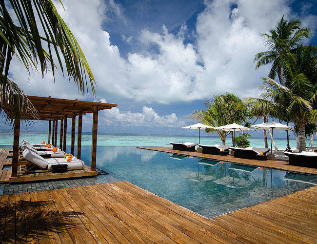 The main pool at the Jumeirah Dhevanafushi resort.