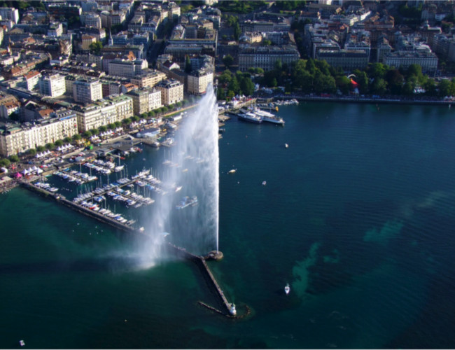 The beautiful Geneva featuring the magnificent Jet d'Eau fountain.