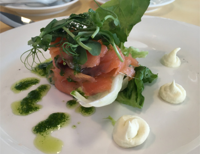 Oak smoked salmon, wasabi, crisp baby gem salad with a sauce vierge.