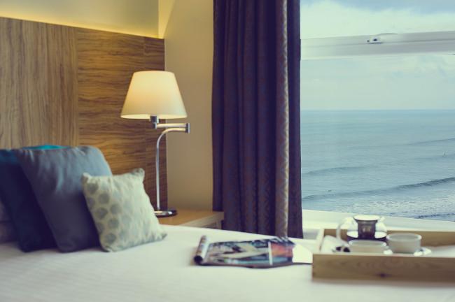 Fistral Beach Hotel bedroom overlooking sea