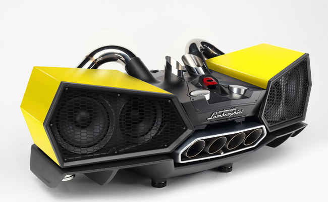 The 53kg system boasts a very striking design, with hexagonal speakers, four original Lamborghini exhaust pipes and a familiar Automobili Lamborghini logo. Plus, it features a carbon-fibre chassis and shock absorbers to add to its automotive similarities.