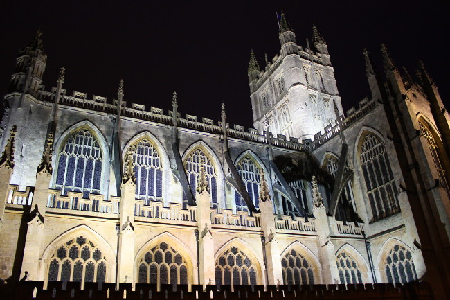 Nighttime view of Bath Cathedral