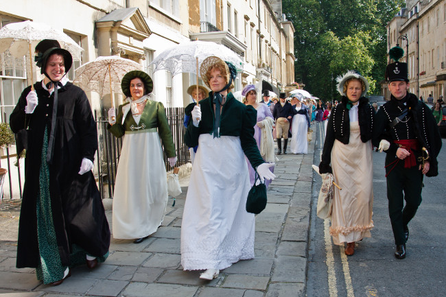People dressed in period costume for the Jane Austen Festival in Bath