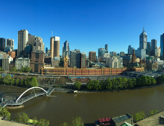 Langham Melbourne skyline river view