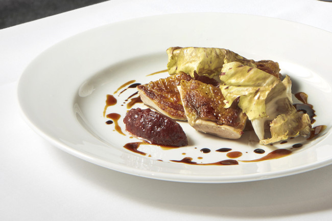 Lightly salted cod with vanilla cauliflower, rainbow chard, crisp cod belly and aged balsamic