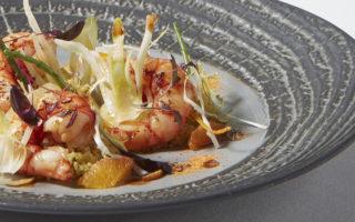 Red Sicilian prawns with couscous salad, fennel confit and blood orange